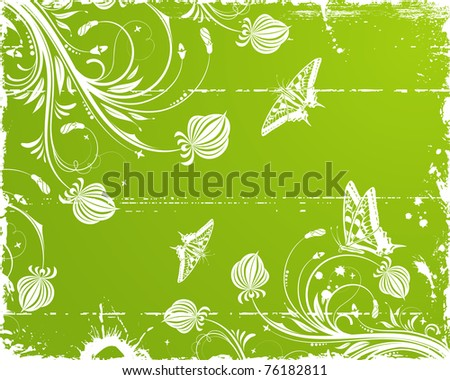 Grunge paint floral frame with butterfly, element for design, illustration