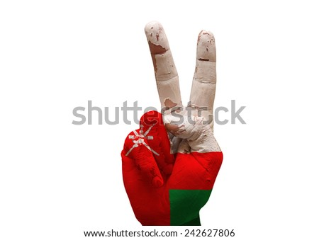 grunge painted hand making the V sign isolated over white background - stock photo