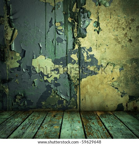 grunge painted wall and wooden floor in a room - stock photo