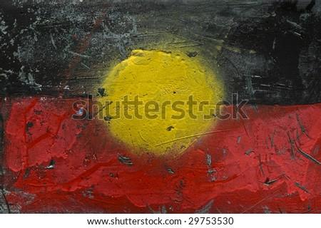 Grunge Painting of Aboriginal Flag - stock photo