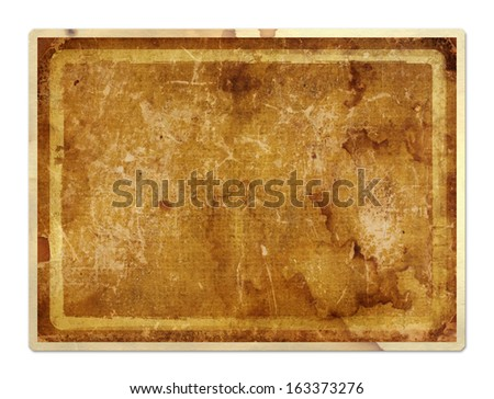 Grunge paper card in scrapbooking style on the white isolated background