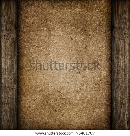Grunge paper on wood background or texture - stock photo