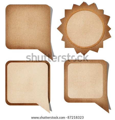 grunge paper talk icon isolate on white