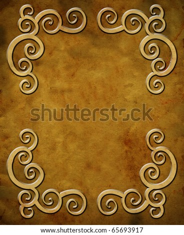 Grunge paper with frame and empty scape - stock photo