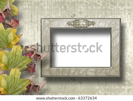 Grunge papers design in scrap booking style with frame and foliage - stock photo