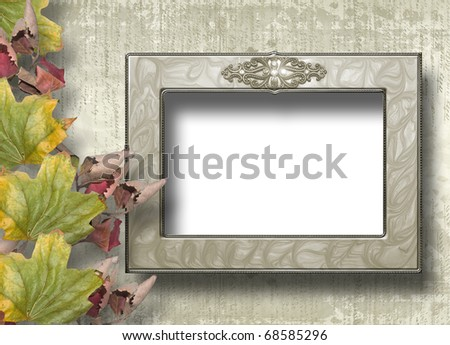 Grunge papers design in scrapbooking style with frame and foliage - stock photo