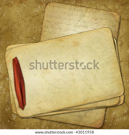 Grunge papers with red ribbon for design