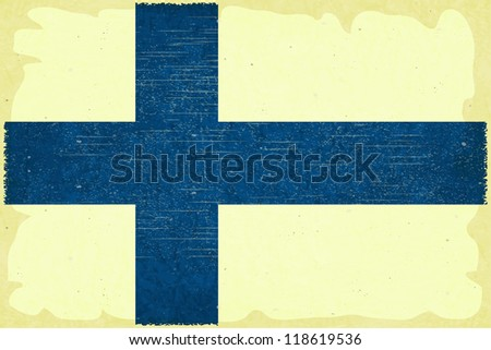 Grunge poster - Finnish flag in Retro style - JPEG version - stock photo