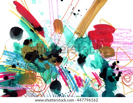 Grunge punky lively artistic technique watercolor gauche oil pastel background texture with abstract paint spatter, stains, pencil strokes. Handmade art design for print, card, template, wallpaper - stock photo