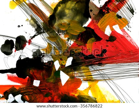 Grunge punky lively artistic watercolor gauche background texture with abstract paint spatter, stains, pencil strokes, paper pieces on white. Handmade art design for print, card, template, wallpaper - stock photo