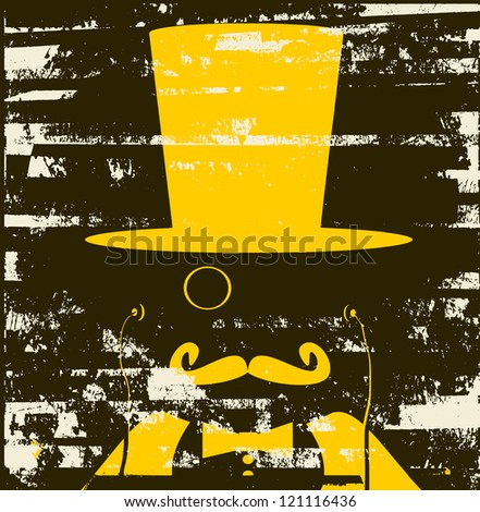 grunge raster design of man with monocle and top hat - stock photo