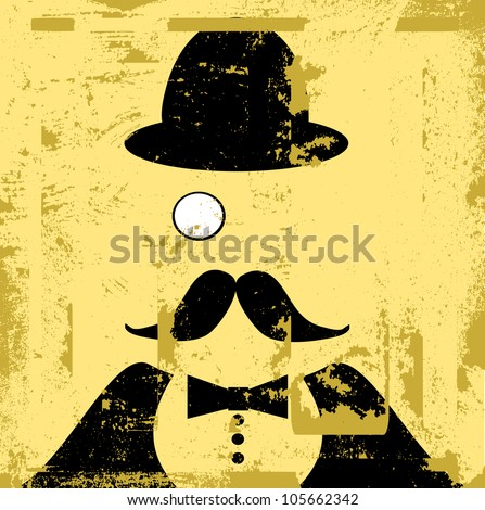 grunge raster illustration of man with bowler hat and monocle - stock photo