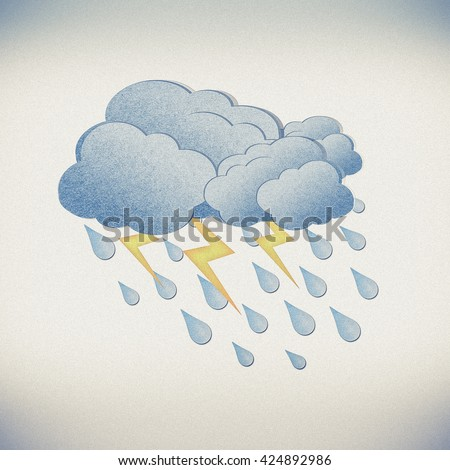 Grunge recycled paper rain and cloud on white background - stock photo