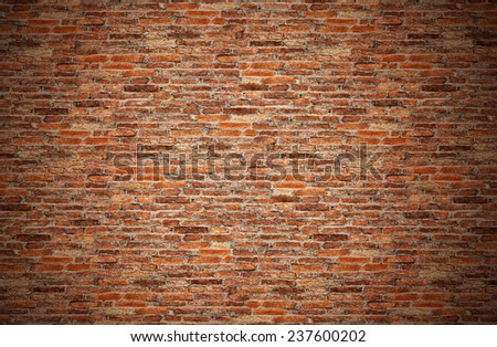 grunge red brick wall, old dark brown, orange brick  fences or grungy rusty blocks of stone work for texture and background - stock photo