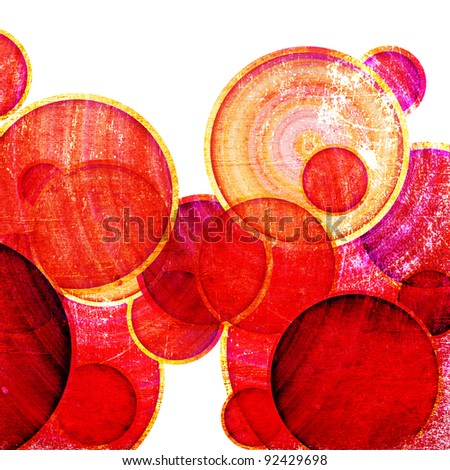 grunge red circles on a white background - stock photo