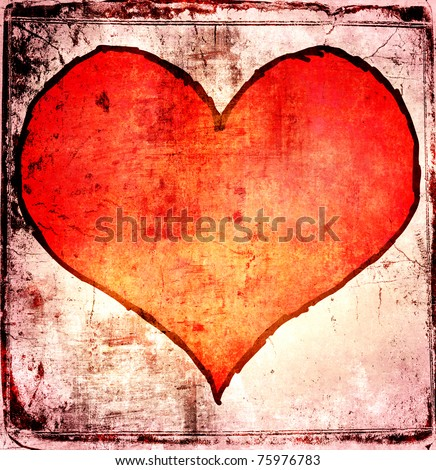 Grunge red heart background - stock photo
