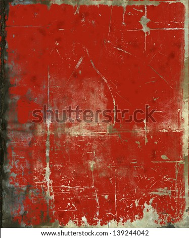 Grunge red painted scratched background, texture - stock photo