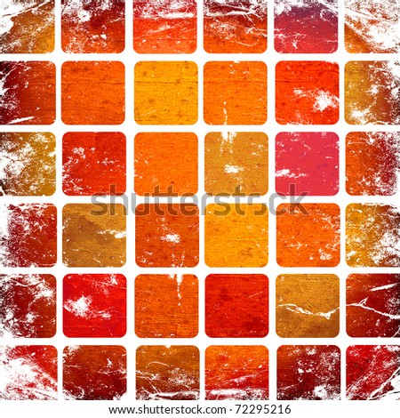 grunge red squares on a white background - stock photo
