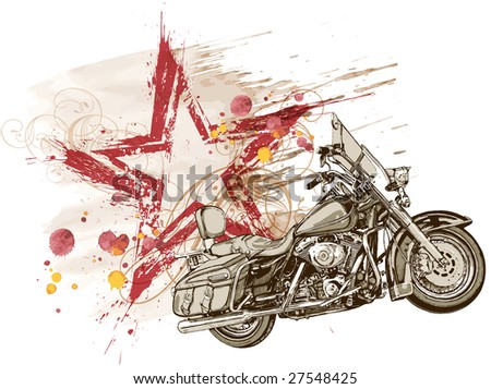 grunge red star & motorcycle - stock photo