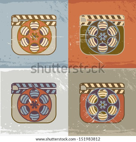 Grunge retro cinema icons: film reel with clapperboard - stock photo