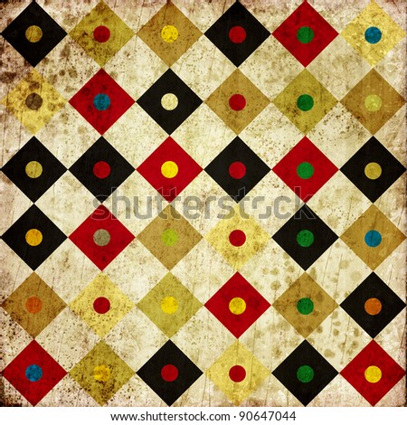 grunge retro vintage paper background with colored square pattern - stock photo
