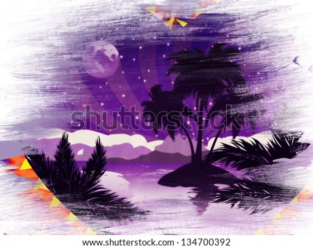 Grunge romantic background with tropical island at night in a heart frame. - stock photo