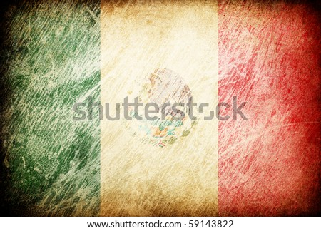 Grunge rubbed flag series of backgrounds. Mexico. - stock photo