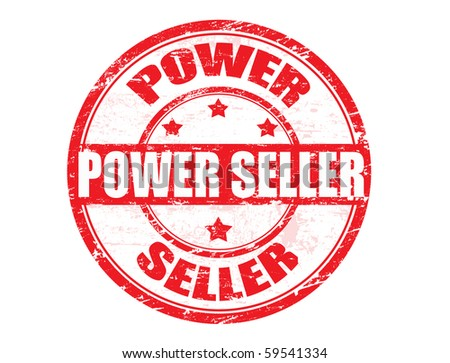 Grunge rubber stamp with  the text Power Seller written inside - stock photo