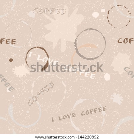 Grunge seamless pattern with coffee stains, blots and text. Raster version. - stock photo