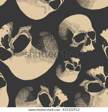 Grunge seamless pattern with skulls. Hand drawn.  - stock photo