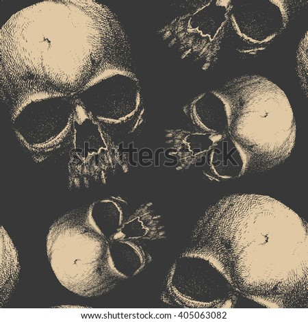 Grunge seamless pattern with skulls.  Hand drawn. Jpeg version. - stock photo