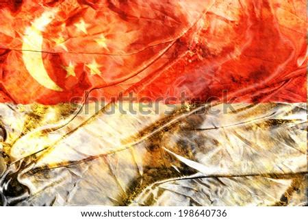 Grunge Singapore flag - stock photo