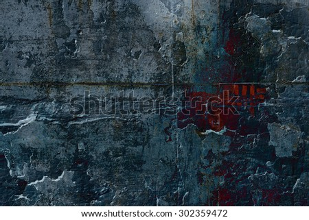 Grunge sinister dark ink stone wall with red inscription. Psychedelic background.