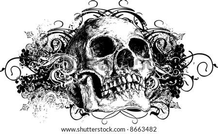 Grunge skull illustration - stock photo