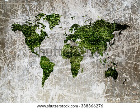 grunge small bokeh and blur turf in shape of world map - stock photo