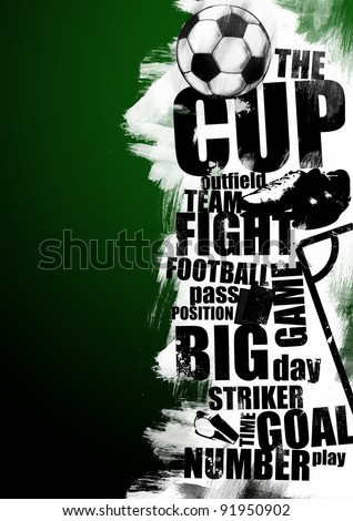 Grunge soccer background (wallpaper, flyer, website, leaflet, magazine) - stock photo