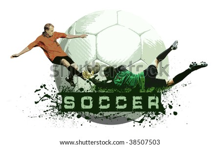 Grunge Soccer Ball background - stock photo