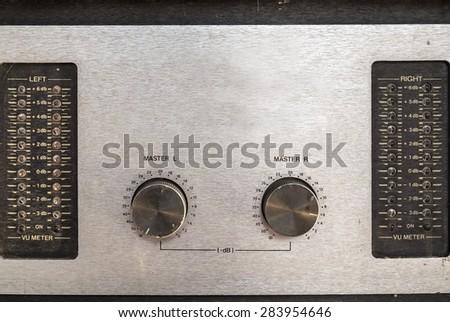 grunge sound mixer console - stock photo