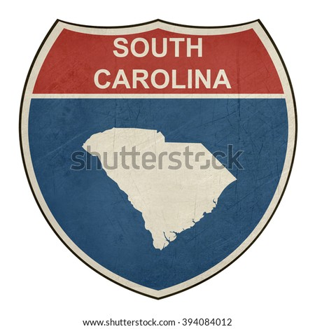 Grunge South Carolina American interstate highway road shield isolated on a white background. - stock photo