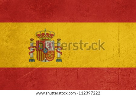 Grunge sovereign state flag of country of Spain in official colors.