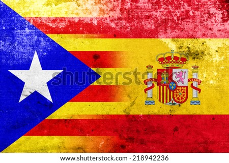 Grunge Spain and Independent Catalonia Flag - stock photo