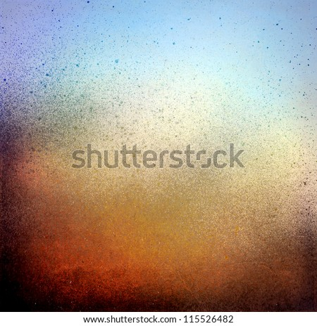 Grunge splatter paint background, blue and brown color texture - stock photo