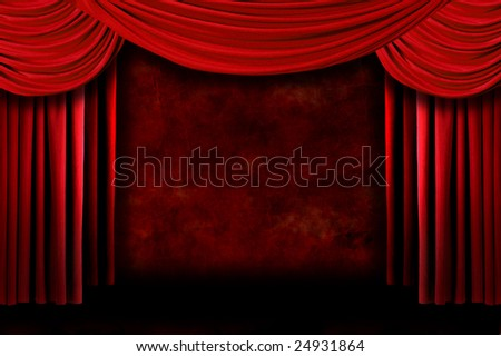 Grunge Stage Theater Drape Curtains Against a Dark Background - stock photo