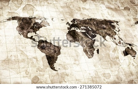 grunge stained map of the world - stock photo