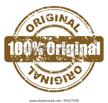 grunge stamp with 100% original - stock photo