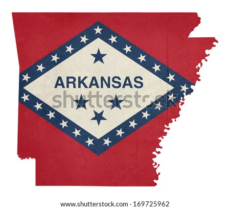 Grunge state of Arkansas flag map isolated on a white background, U.S.A. - stock photo