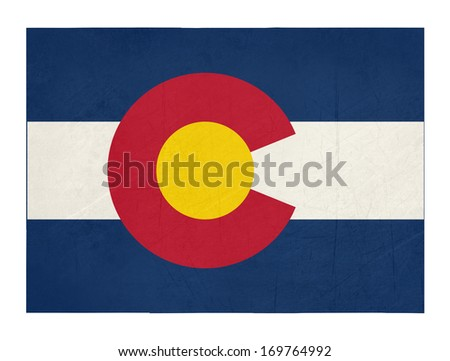 Grunge state of Colorado flag map isolated on a white background, U.S.A.  - stock photo