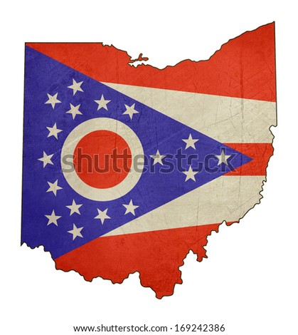 Grunge state of Ohio flag map isolated on a white background, U.S.A. - stock photo