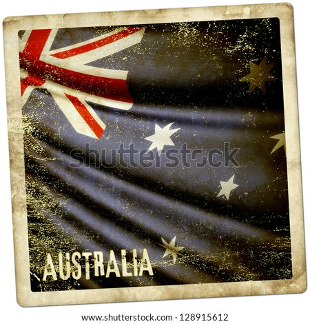 Grunge sticker of Australia - stock photo