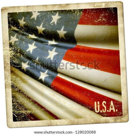 Grunge sticker of USA